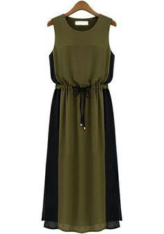 Vestido de cintura alta sin mangas-verde EUR27.68 www.sheinside.com