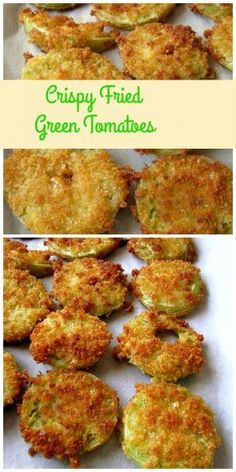 Crispy Fried Green Tomatoes- A summertime favorites, these Crispy Fried Green Tomatoes are made with Panko breakcrumbs mixed with garlic, onion, and a little kick of cayenne pepper. Green Tomato Recipes, Vegetable Recipes, Vegetarian Recipes, Cooking Recipes, Healthy Recipes, Veggie Food, Cooking Tips, Rice Recipes, Pork Recipes