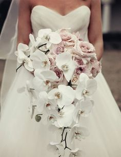 sterling rose cascading Wedding Bouquets | Cascading style Orchid Wedding Bouquet
