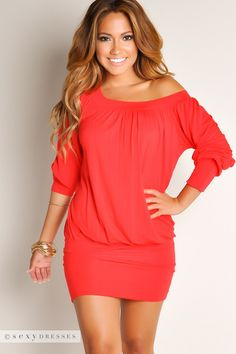 Red Off-the-Shoulder Tunic Dress