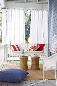 Nautical Porch Swing. Love the outdoor privacy curtains.. will have to do this!