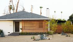 numbers, porch color & wooden privacy shade...drought tolerant garden to boot!