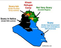 """The map of iraq depicting the dangerous or """"scary"""" places. They also inhabit parts of Syria"""
