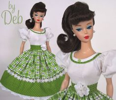 Spring Green - Vintage Reproduction Repro Barbie Doll Dress Clothes Fashions #Fanfare