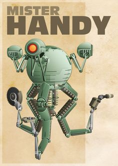 Mister Handy from awesome game Fallout I made it completely in Illustrator. except the texture in the background. I made it just for fun and I hope. Fallout Theme, Fallout Posters, Fallout Props, Fallout Fan Art, Fallout Concept Art, Video Game Art, Video Games, Mr Handy, Fallout Wallpaper