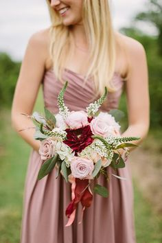 "Marsala bridesmaid look + bouquet | Kati Mallory <a class=""pintag"" href=""/explore/wedding/"" title=""#wedding explore Pinterest"">#wedding</a>"