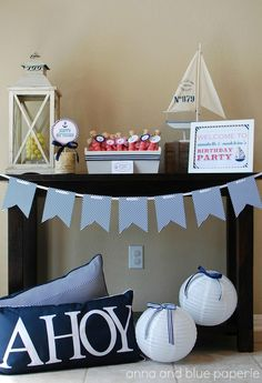 anna and blue paperie: Let's Set Sail #favor #sailboat #nautical #birthday #party #banner