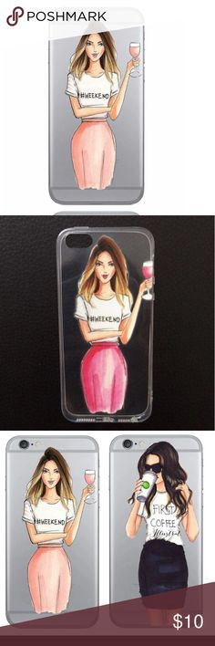 Wine Girl Fashion Iphone6/6S Case 💃🏼✨Fashionable Shopping Girl case for Iphone 6/6S. Transparent soft clear silicone material. Slim fit. Lightweight.✨💃🏼 Accessories Phone Cases