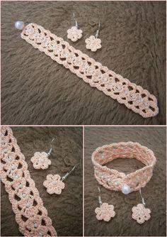 Earring and Bracelet Set Crochet Bracelet Pattern, Crochet Beaded Bracelets, Crochet Earrings, Crochet Small Flower, Crochet Flowers, Thread Crochet, Diy Crochet, Jewelry Patterns, Crochet Edgings