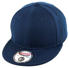 Blank Flat Fitted Cap - Kids - Navy