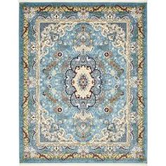 Unique Loom Tabriz Blue 8 ft. x 10 ft. Area Rug 3136892 at The Home Depot - Mobile
