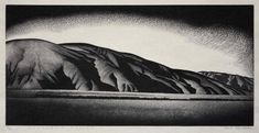 Paul Landacre, Coacchella Valley, 1935/ 1936, Wood engraving on wove Japanese paper, 6 x 12 inches, Private collection