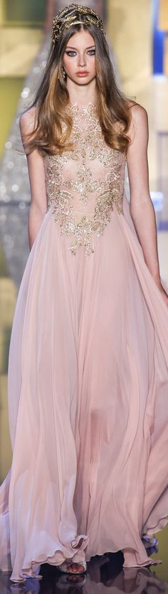 Elie Saab FW 2015 couture - love the hair piece too!