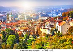 panorama of the city of Prague and Prague Castle