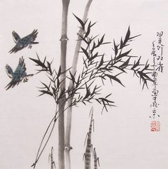 original chinese traditional painting bamboo painting ink painting oriental art chinese art -lovely bamboo with  birds No.9