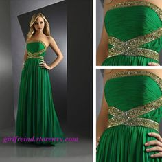 Dress code: F0024  Fabric:Chiffon + silk Embellishment:Beading Straps:Strapless Sleeves:Sleeveless Back:Zipper Occasion: Homecoming, graduation,party Color: Green  Size: 2, 4, 6, 8, 10 custom-made  Note: It may take 10-15days for tailor and processing. You can change the colors,plea...