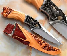 Handmade Wood Carving Knives | Lion Hunt Custom Knife I would get one of these for fishing!