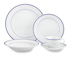 Apilco Tradition Blue-Banded Porcelain Dinnerware Place Settings #williamssonoma