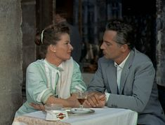 """Katharine Hepburn and Rossano Brazzi in """"Summertime,"""" the 1955 film kicking off our Scenes of Venice Film Series!  image via: happythoughtsdarling.wordpress.com"""