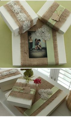 These fun projects are for everyone who loves burlap. It is such an amazing vintage decoration for every home. This DIY crafts are so simple and easy so Cute Diy Projects, Burlap Projects, Burlap Crafts, Diy And Crafts, Craft Projects, Wrapping Ideas, Gift Wrapping, Winter Diy, Burlap Lace