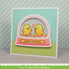 the Lawn Fawn blog: Lawn Fawn  Chirpy Chirp Chirp and Ready, Set, Shake Happy Spring Chick card by Chari Moss.