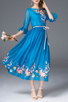 Shop sfeishow blue silky embroidered fit and flare dress here, find your midi dresses at dezzal, huge selection and best quality. Chic Dress, Dress Skirt, Flare Dress, Pretty Outfits, Cute Outfits, Independent Clothing, Midi Dresses Online, Fashion Corner, Look Fashion