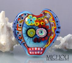 Day of Dead  Art Glass Focal Bead by Michou P. by michoudesign, $ 98.00