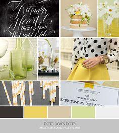 see blog post for image credits… inspiration board: dots dots dots #black #yellow #tan #green #gray #white