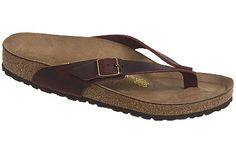 Birkenstock Adria  Henna Oiled Leather  $110     Just a little bit of leather goes a long way to comfort in this streamlined toe piece sandal. The strap placement sweeping back on the sides provides a secure fit and you can adjust the buckles to your feet. Soft leather toepiece. Classic Birkenstock cork footbed has great arch support and a deep heel cup to keep you stable while walking. Lightweight and durable EVA soles can be replaced when worn.