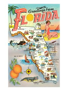 Greetings From Florida State Map Old Postcard by PostcardStore