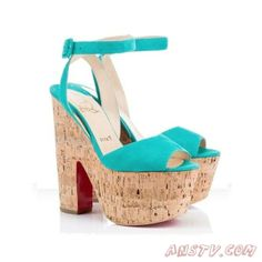 Christian Louboutin Super Dombasle Suede Wedges Jade 160mm Pas cher