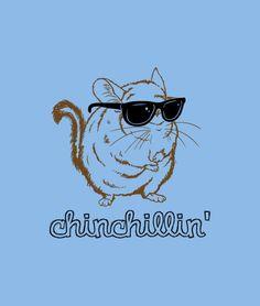 Chinchillin' like a villain.  Funny t-shirts.