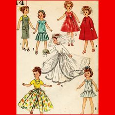 """Vintage 1950's 10.5"""" Doll Clothes Sewing Pattern 1958 Wedding Gown Dress Coat"""