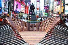 Heartwalk: Heart-Shaped Pavilion Made of Hurricane Sandy-Salvaged Boardwalk Planks Opens in Times Square | Inhabitat New York City