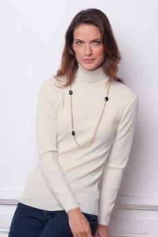 637ad5832d68 Le pull chaussette femme naturel. Pure laine vierge mérinos. Fabrication  française.