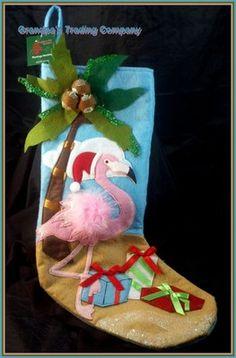 Pink FLAMINGO Christmas Holiday Stocking Palm Tree Coconuts Beach Santa Hat   eBay