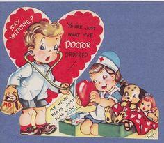 0212 VTG VALENTINE CARD MEDICAL NURSE & DOCTOR TAKING CARE OF DOLL AND PUPPY DOG (02/19/2012)