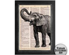 Elefante Art - impreso en maravillosamente Upcycled Vintage Diccionario de papel - 8x10.5 - Diccionario arte imprimir en papel de libro Diccionario vintage