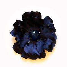 Blue Side Flower Dark Blue Fascinator Navy Blue by JerseyBride