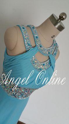 Unique Evening Dresses.Light Blue Evening Dresses.Formal Evening Gowns.Chiffon Evening Dress.Jewel Beaded Evening Dress.Long Prom Dress 2015