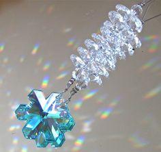 Swarovski Green AB Snowflake Prism Ornament, 35mm Logo with 14 Octagon Prisms #prism