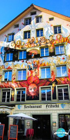 Painted façade in Lucerne's Old Town, Switzerland // The Invisible Tourist