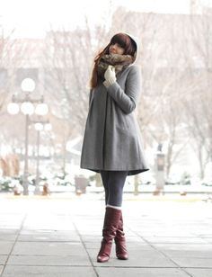 Grey wool pantyhose with white socks on top and burgundy boots + long grey coat