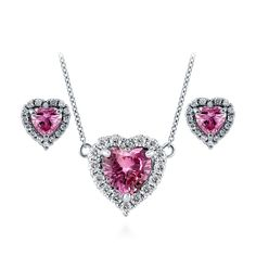 Sterling Silver Pink CZ Halo Heart Earrings and Pendant Necklace Set