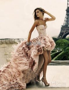 High-low Short Front Long Back Zuhair Murad Wedding Dress Feather Lace Up Corset real picture