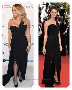 Un vestido de Brandon Maxwell primavera 2016 lo llevo primero Mariah Carey a una de las fiestas posteriores a los Oscar; en el Festival de Cannes se lo vimos a Isabeli Fontana