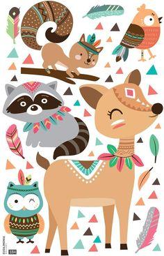 Wall stickers for kids, DEER Indian - - Tribal Animals, Wall Stickers, Sticker Mural, Woodland Baby, Woodland Creatures, Nursery Art, Cute Art, Deer, Kids Rugs