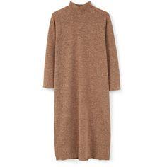 MANGO MANGO Funnel Neck Dress (€46) ❤ liked on Polyvore featuring dresses, beige dress, longsleeve dress, long sleeve zipper dress, long sleeve dress and mango dresses