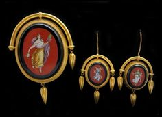 Antique 19c Etruscan Revival Micromosaic Goddess 14k Gold Brooch Earrings Suite