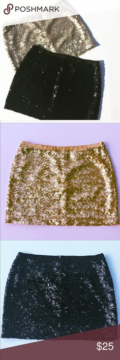 Bundle Sequined Mini Skirts Gold and black mini skirts new without tags two for one reasonable price. No flaws visible. Skirts Mini